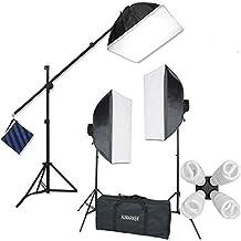 "StudioFX H9004SB2 2400 Watt Large Photography Softbox Continuous Photo Lighting Kit 16"" x 24"" + Boom Arm Hairlight with Sandbag H9004SB2 by Kaezi"