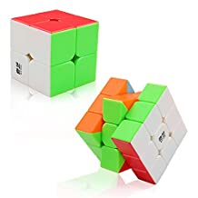 Tresbro 2 Pack Speed Cubes, QiYi Magic Puzzle 2x2 and 3x3 Speedcubing Toys with Stickerless and Guide for Kids and Adults
