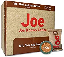Joe Knows Coffee, Tall Dark and Handsome, Single Serve Coffee Pods, 40 count, Rich, Bold Roast, Compatible with Keurig...