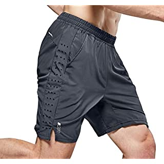 NICEWIN Men's 7-inch Running Shorts Quick Dry Lightweight Zipper Pocket Short Pants for Crossfit Athletic Gym Workout Grey S