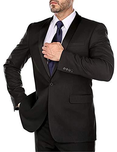 - Men's Single Breasted 2 Piece Business Classic Suit Shawl Collar Tuxedo Blazer Jacket Pants Black