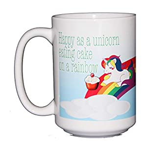 Happy as a Unicorn Eating Cake on a Rainbow Coffee Mug