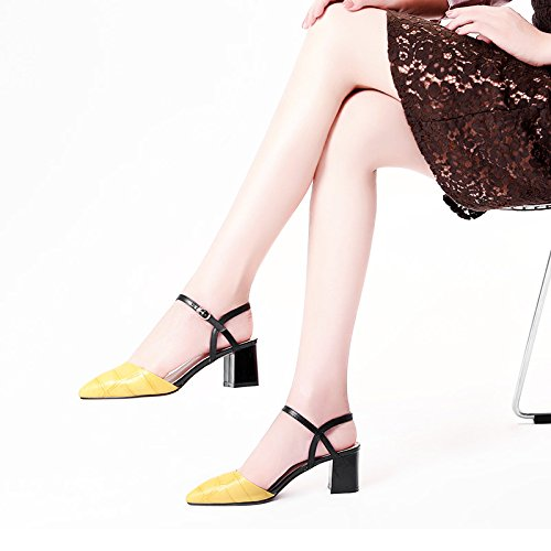 sandalias verano Moda altos tacones confortables negro 35 Yellow Mujer AHqqET
