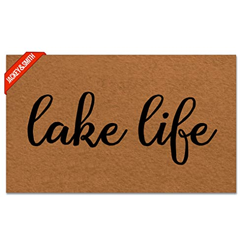 Jackey&Smith Door Mat Funny Doormat Lake Life Mat Welcome Mat Entrance Floor Mat Rug Non Slip Balcony Mat Felt Fabric 18-Inch by 30-Inch