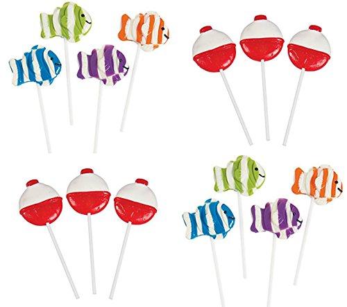 Each Lollipop (24 pack Little Fisherman Suckers - 12 each BOBBER and FISH lollipops)