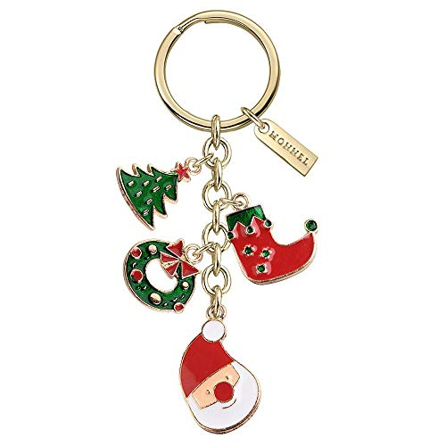 - Monnel New Arrival Cute Christmas Santa Tree Garland Sock Charms Pendants Keychain with Velvet Bag Z564