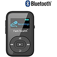 Fam-health 8GB Portable Sport Clip Bluetooth MP3 Player with Lossless Sound and Expandable Micro SD Card up to 64GB for Jogging Running 2018 NEW VERSION (Black)