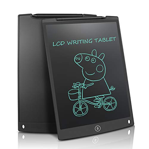 Updated 12 Inch LCD Writing Tablet Doodle Pad Drawing Board Gifts for Kids Office Whiteboard Fridge Magnetic Memo Message Boards (Black)