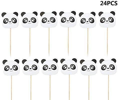 - 24pcs Panda Cupcake Toppers Cupcake Picks Food Fruit Picks for Birthday Cake Decorations