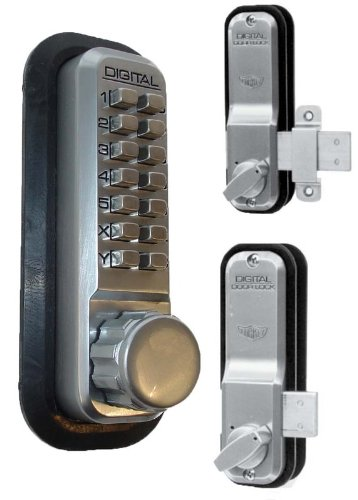 Lockey 2200-SC-KO Mechanical Keyless Surface44; Rim Mount Slide Deadbolt - Satin Chrome With Key Override