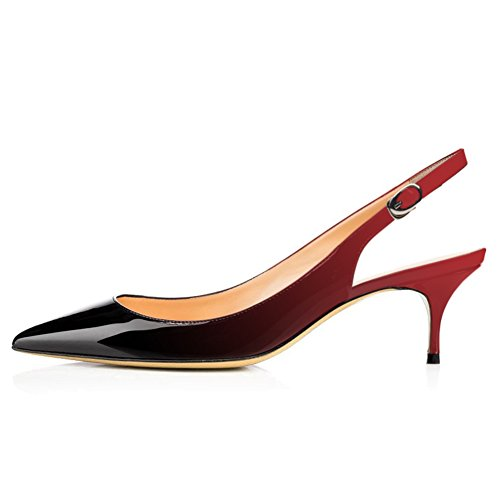 (VOCOSI Slingbacks Pumps for Women,Low Kitten Heels Comfortable Pointy Toe Pumps Shoes Red-Black 6 US )