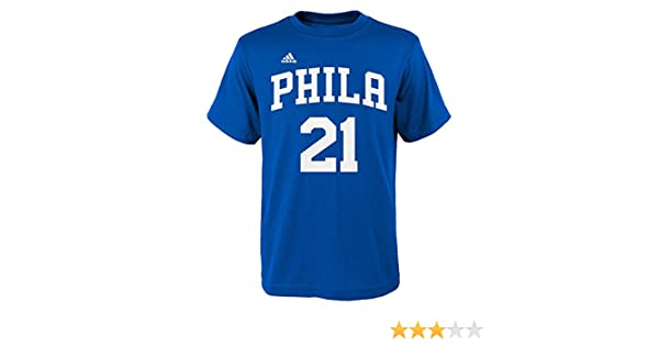 Amazon.com : Adidas Boys NBA Philadelphia 76ers Joel Embiid Name and Number Fashion Tee Shirt, Youth Large 14/16 : Sports & Outdoors