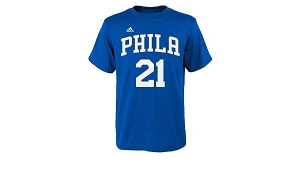 Adidas Niños NBA Philadelphia 76ers Joel embiid Nombre y número Fashion - Camiseta de Manga Corta, Azul: Amazon.es: Deportes y aire libre