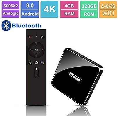 GALEI Andriod 9.0 TV Box, Bluetooth Set Top Box HD 4GB RAM + 128GB ROM WiFi 2.4G / 5.0G, Smart 4K Media Player con Control Remoto: Amazon.es: Hogar
