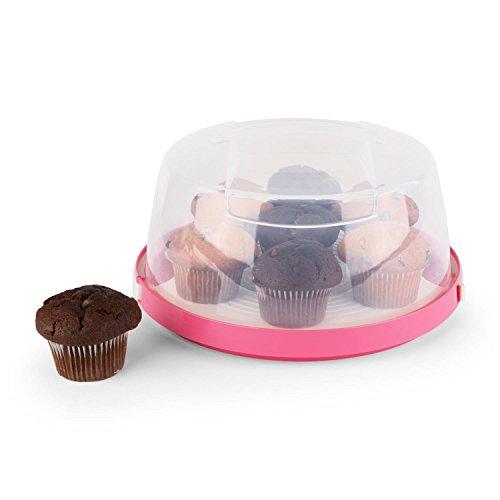 Klarstein Pinkkäppchen Tortenglocke Kuchenbox für Backwaren Kuchenbehälter Kuchen-Transportbox mit Tragegriff & Klippverschlüsse (Ø26 cm, 10cm Höhe, herausnehmbarer Kuchenteller) pink