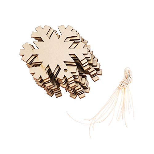 DSSY 20 Pieces Unfinished Wooden Christmas Gift Tags Christmas Tree Ornaments for Christmas Decoration and DIY Craft Making(Snowflake)