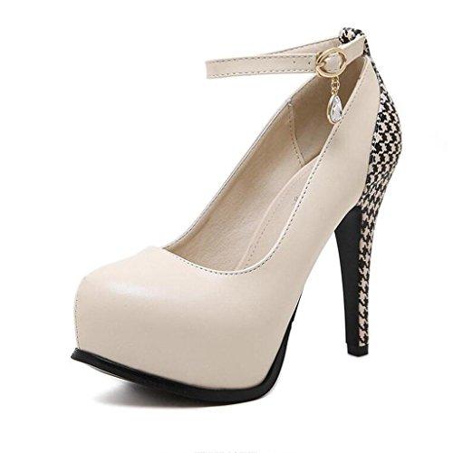 W&LM Sra Tacones altos De acuerdo Tacones altos Boca rasa Piedras de Strass Zapatos de tobillo Plataforma a prueba de agua Zapatos individuales apricot