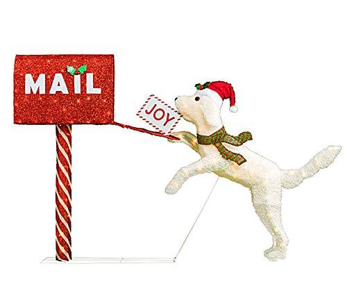VH&G 43 Inch Wide - Light-Up Holiday Dog & Mailbox - Pre-Lit (Up Dog Decoration Christmas Light)