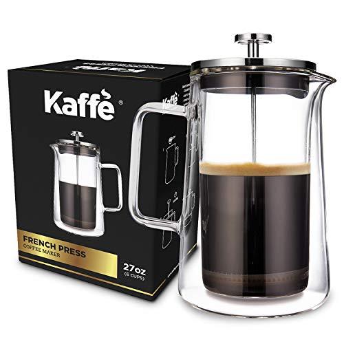 Kaffe KF1010 French Press Coffee Maker. Double-Wall Borosilicate Glass. (27oz / 0.8L) 6-cups