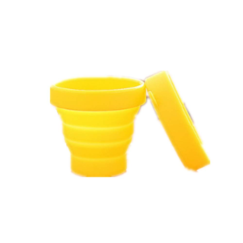 Vinmax Collapsible Cup, Foldable Silicone Travel, Camping Cup - Light and Small - Easy to Carry - 170 ML/5.8 Fluid Ounce -Yellow, Blue, Green, Pink (Yellow)