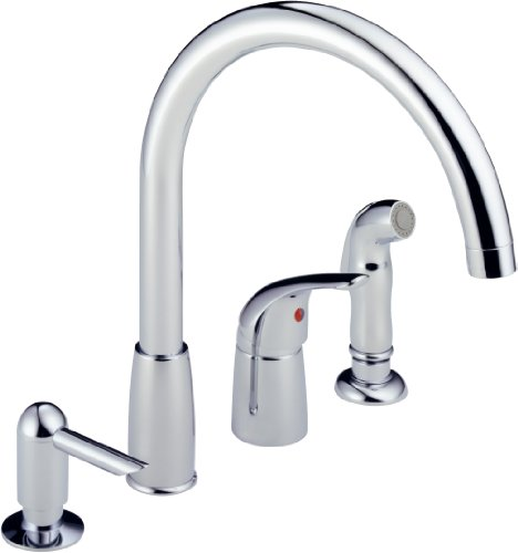 Peerless P188900LF-SD Apex Single Handle Widespread Kitchen Waterfall with Soap Dispenser, Chrome