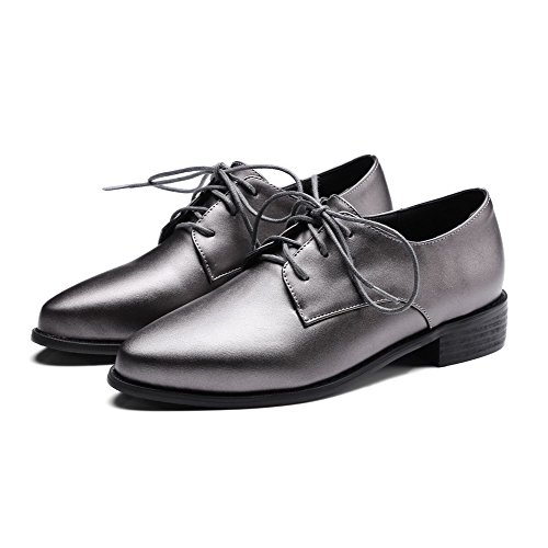 Odomolor Women's PU Pointed-Toe Low-Heels Lace-up Solid Pumps-Shoes, Gray, 36