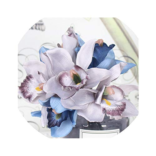 winkstores Artificial Flowers 7 Head Orchid Home Decoration Hotel Table Fake Flower Decoration Wedding Bride,Gray-Blue