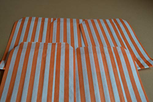 50 Pack – 5″ x 7″ Orange Sweet Striped Paper Bags