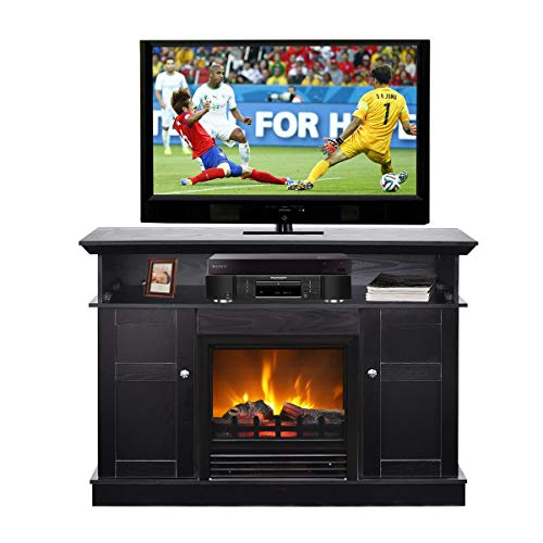Tangkula Fireplace TV Stand for TV Up to 50', Home Living Room Wooden Media TV Stand Fireplace