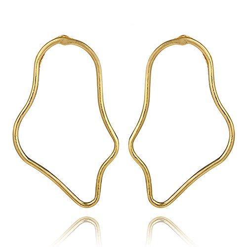 - Punk Exaggerate Gold Color Earring Women Ladies Irregular Geometric Earrings Metal Piercing Earring