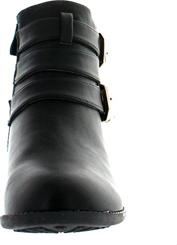 Top Moda Cl 14 Womens Buckle Straps Stacked Low Heel Ankle Booties Ankle Bootie