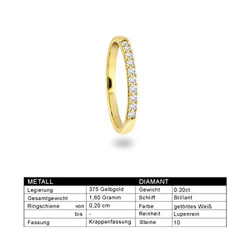 Diamond Line Femme  9carats (375/1000)  Or jaune #Gold Balle   Blanc Diamant