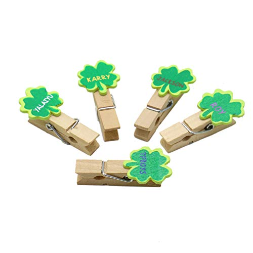 JETEHO Shamrock Photo Clips Mini Clothespins Natural Wooden Clips for Decorations and Gifts