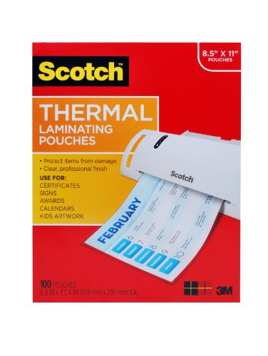 Laminating Laminators - Scotch Thermal Laminating Pouches, 8.9 x 11.4 -Inches, 3 mil thick, 100-Pack (TP3854-100)