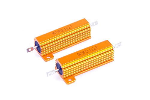 LM YN 50 Watt 0.1 Ohm 5% Wirewound Resistor Electronic Aluminium Shell Resistors Gold Suitable For Inverter, LED lights, Frequency Divider, Servo Industry And Other Industrial Control ()