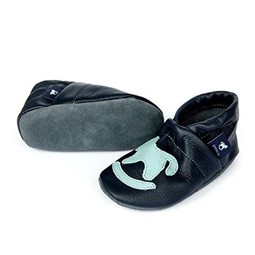 Pantau Leder Krabbelschuhe Lederpuschen Babyschuhe Lauflernschuhe mit Schaukelpferd, 100% Leder BLAU_HELLBLAU
