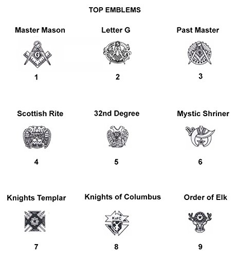 Men's Customizable Solid Back Two Tone 10K White Gold Freemason Masonic Ring