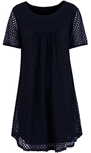 ililily Punched Eyelet Embroidery H line Short Sleeves Lined Dress Tunic Top (dress-148-3)