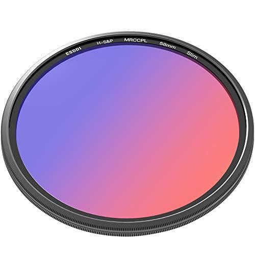 ESDDI CPL 58mm, Filtro Cicular Polarizador, Filtro CPL para Objetivos de Canon, Nikon, Sony, Pentax, Olympus, etc. con Revestimiento Multiple