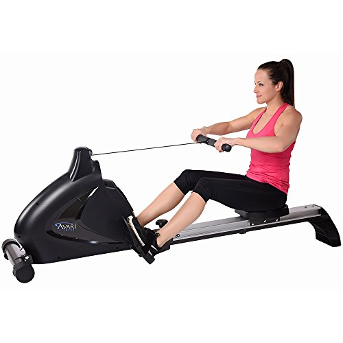 Home gym rowing machine. Stamina Avari Programmable Magnetic Exercise Rower with Fold-to-Fit Folding Equipment Mat (84-Inch by 36-Inch)