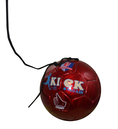 (Exxact - Kick Again - Training Soccer Ball with Stretchable String for Solo/Team Training -Size 3 or 4 for Kids or Teens. (Red, 4))