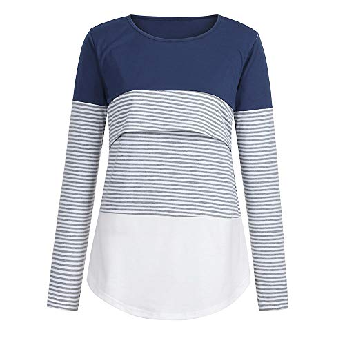 Lovygaga Maternity Tops,Summer Classic Color Block Striped Long Sleeve Nursing Baby Tee Shirt Blouse for Pregnant Mom Blue (Thomas The Pregnant Man As A Woman)