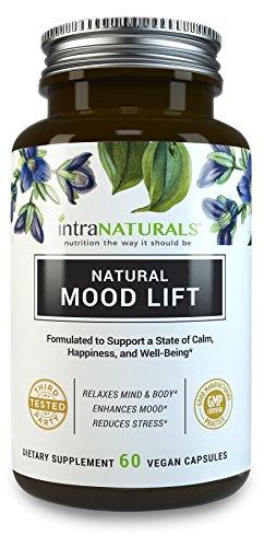 Ascenseur d'humeur naturel - relaxe esprit & corps, calme, stimule la sérotonine, réduit l'anxiété | IntraNaturals | 3ème partie testé, Vegan, Non-OGM - fait avec le 5-HTP, magnésium, L-méthionine, vitamines B5 & B6