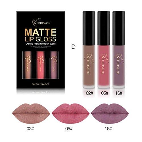 Lanhui_3PCS New Fashion Waterproof Matte Liquid Lipstick Cosmetic Sexy Lip Gloss Kit for Elegant Women (D) ()