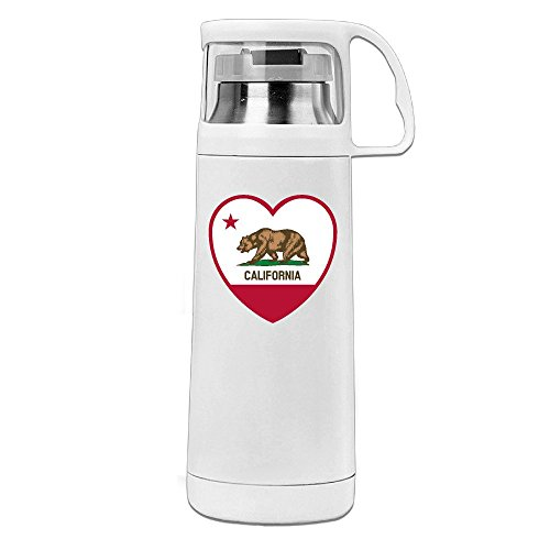 Handson Stainless Steel Vacuum Insulated Tumbler California Heart Insulated Thermos Cup White 14oz/350ml (Steel Heart Cold)