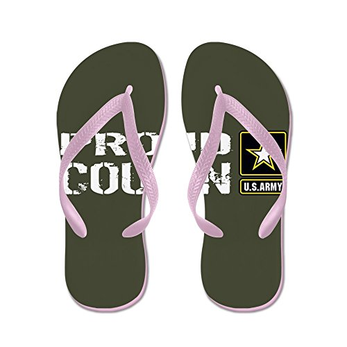 CafePress U.S. Army: Proud Cousin (Military Green - Flip Flops, Funny Thong Sandals, Beach Sandals Pink