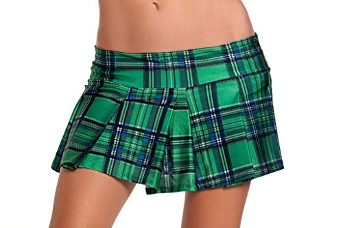 Pleated Schoolgirl Mini Skirt Adult Clothing Green - Medium/Large -