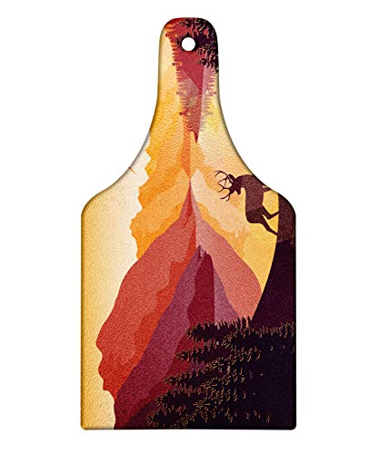 Ambesonne Deer Hunting Cutting Board, Reindeer Lake Mountains Birds Dusk Reflections Print, Decorative Tempered Glass Cutting and Serving Board, Wine Bottle Shape, Apricot Dried Rose Pale Camel Cream