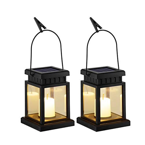GIGALUMI 2 Pack Solar Power LED Hanging Lantern Outdoor, Candle Effect Light with Stake for Garden,Patio, Lawn, Deck, Umbrella, Tent, Tree,Yard,Driveway-Warm White