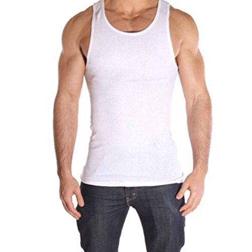 Price comparison product image New 3 Pc 100% Cotton Mens A-Shirt Ribbed Tank Top Undershirt White